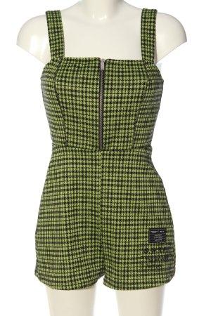 Bershka Jumpsuit grün-schwarz Karomuster Casual-Look
