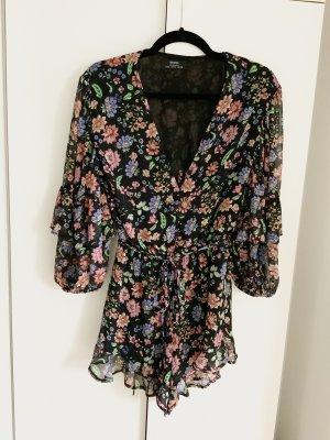 Bershka Jumpsuit S 36 Bunt Blumen Muster Schwarz Playsuit