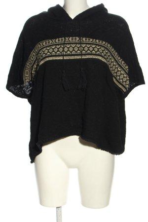 Bershka Kapuzenshirt schwarz-creme grafisches Muster Casual-Look