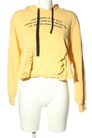 Bershka Kapuzensweatshirt blassgelb Schriftzug gedruckt Casual-Look