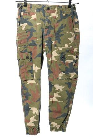 Bershka Spodnie khaki Wzór moro W stylu casual