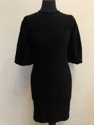 Bershka Kleid 36 S schwarz grob Ripp Puffärmel Cordoptik
