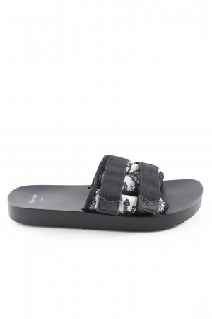 Bershka Comfort Sandals black-white animal pattern casual look