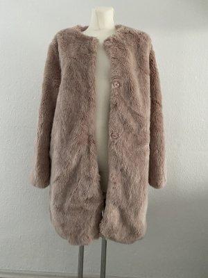Bershka Płaszcz ze sztucznym futrem stary róż-bladofiołkowy