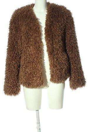 Bershka Kurtka ze sztucznym futrem brązowy W stylu casual