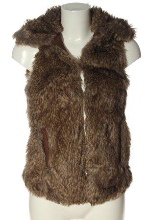 Bershka Chaleco de piel sintética marrón-crema moteado look casual
