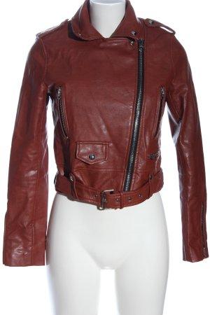 Bershka Faux Leather Jacket brown casual look