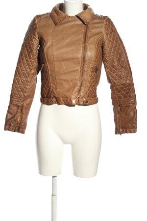 Bershka Kurtka z imitacji skóry brązowy Pikowany wzór W stylu casual