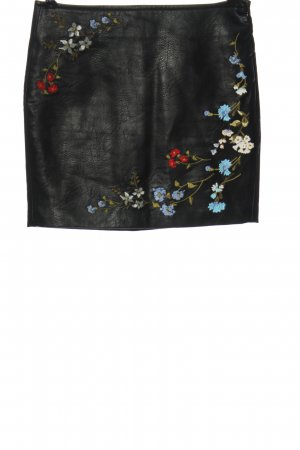 Bershka Faux Leather Skirt black flower pattern casual look