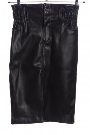 Bershka Spódnica z imitacji skóry czarny W stylu casual