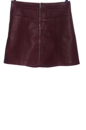 Bershka Spódnica z imitacji skóry czerwony W stylu casual