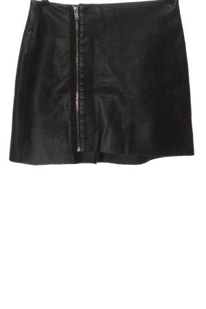 Bershka Spódnica z imitacji skóry czarny Z połyskiem