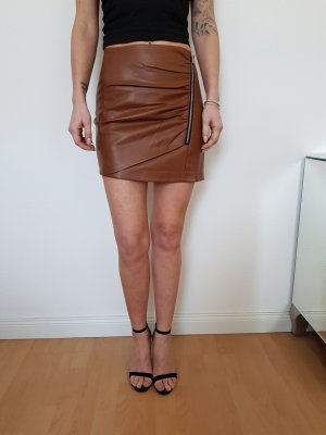 Bershka Spódnica z imitacji skóry brązowy