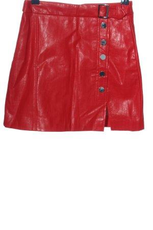 Bershka Gonna in ecopelle rosso elegante