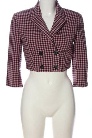Bershka Kurz-Blazer pink-schwarz Karomuster Casual-Look