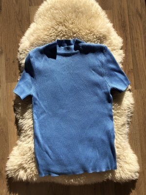 Bershka Short Sleeve Sweater neon blue-blue