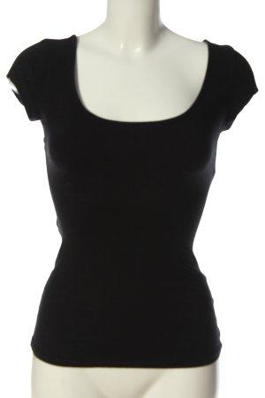Bershka Kurzarm-Bluse schwarz schlichter Stil