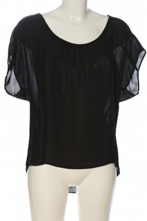Bershka Kurzarm-Bluse schwarz Elegant