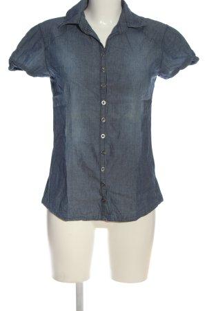 Bershka Kurzarmhemd blau meliert Casual-Look