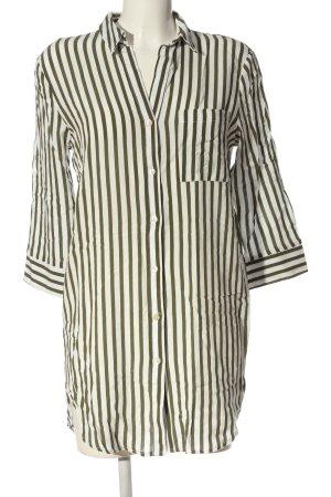Bershka Koszula z krótkim rękawem brązowy-biały Wzór w paski W stylu casual