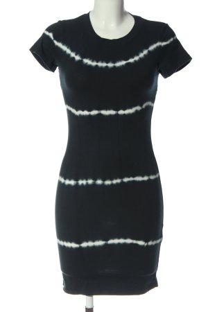 Bershka Kurzarmkleid schwarz-weiß Streifenmuster Casual-Look