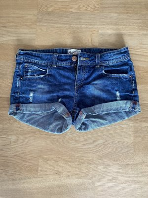 Bershka Pantaloncino di jeans blu-blu scuro