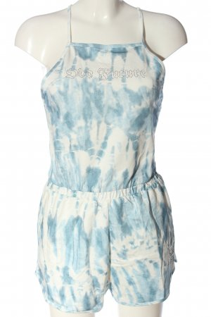 Bershka Kurzer Jumpsuit blau-weiß abstraktes Muster Casual-Look