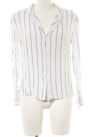 Bershka Langarm-Bluse weiß-schwarz Streifenmuster Business-Look