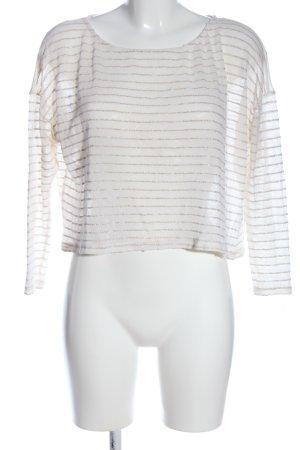 Bershka Langarm-Bluse weiß-goldfarben Zopfmuster Casual-Look