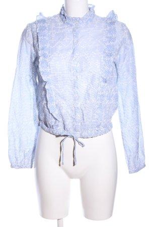 Bershka Langarm-Bluse blau Allover-Druck Elegant