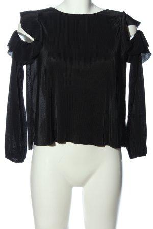 Bershka Langarm-Bluse schwarz Elegant