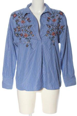 Bershka Camicetta a maniche lunghe blu-bianco motivo floreale