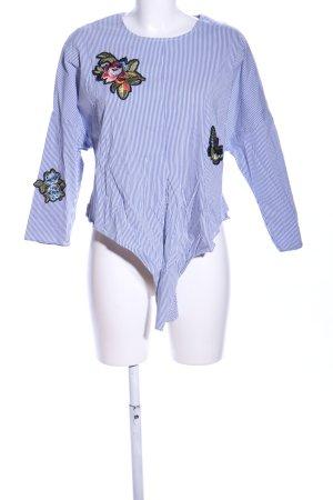 Bershka Langarm-Bluse blau-weiß Streifenmuster Casual-Look