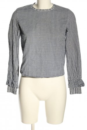 Bershka Langarm-Bluse schwarz-weiß Allover-Druck Casual-Look