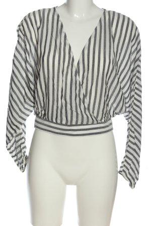 Bershka Long Sleeve Blouse white-light grey allover print casual look