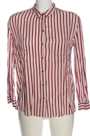 Bershka Langarmhemd rot-wollweiß Streifenmuster Casual-Look