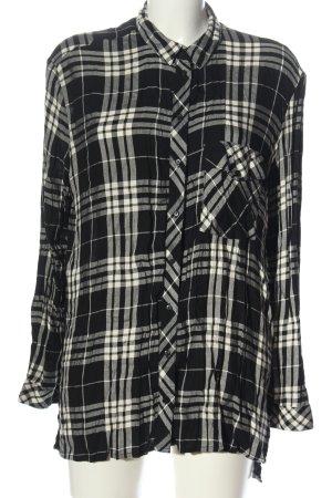 Bershka Chemise à manches longues noir-blanc imprimé allover élégant