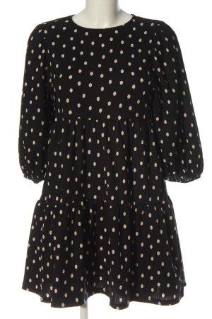 Bershka Robe à manches longues noir-blanc cassé motif de tache