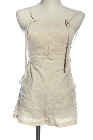 Bershka Pantalón corto tipo peto nude-amarillo pálido estampado a rayas
