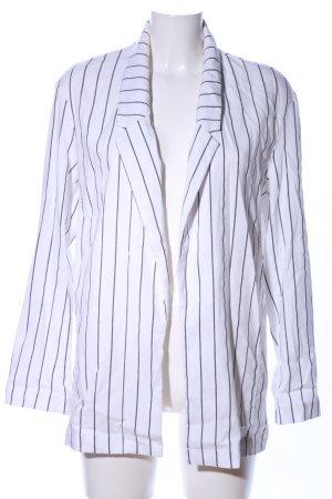 Bershka Blazer lungo bianco-nero motivo a righe stile casual