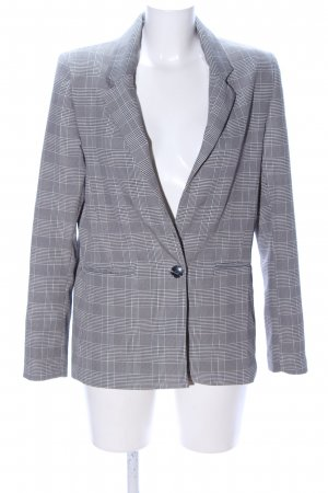 Bershka Long-Blazer hellgrau-weiß Karomuster Business-Look