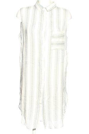 Bershka Long-Bluse wollweiß-schwarz Streifenmuster Casual-Look