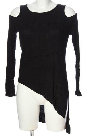 Bershka Long-Bluse schwarz Casual-Look