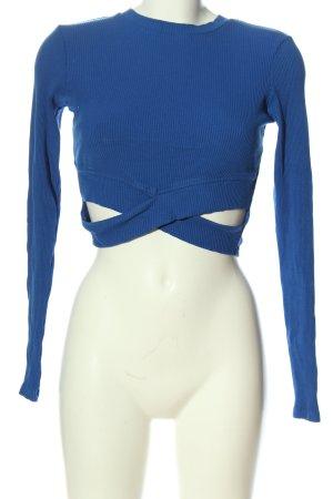 Bershka Longsleeve blau Casual-Look