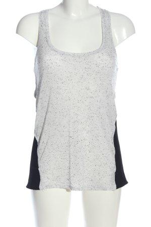 Bershka Lange top wit-zwart gestippeld casual uitstraling