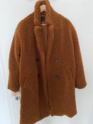 Bershka Cappotto in pile marrone