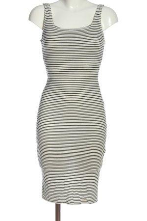 Bershka Midikleid weiß-schwarz Streifenmuster Casual-Look