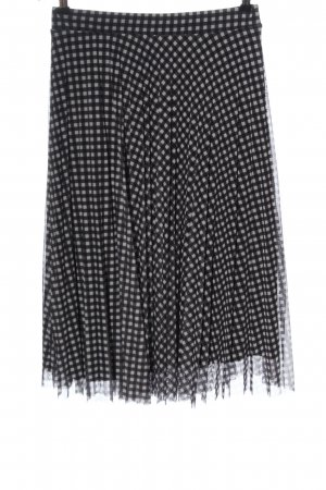 Bershka Midi Skirt black-white check pattern casual look