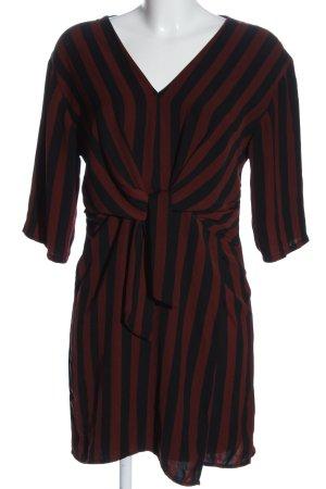 Bershka Mini-jurk bruin-zwart gestreept patroon casual uitstraling