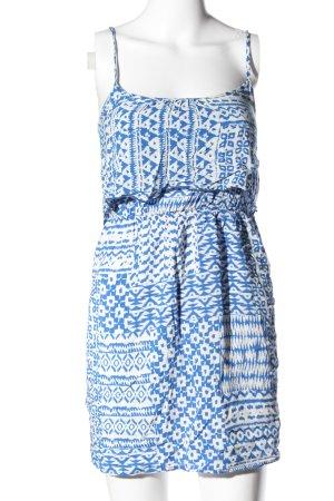 Bershka Minikleid blau-weiß Allover-Druck Casual-Look